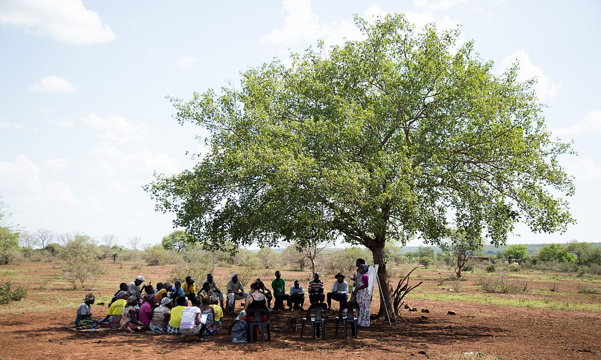 A community meeting in Mangalane, Mozambique