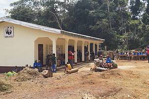 view of a two classroom building donated to indigenous forest people baka community of assoumndele by wwf cameroon